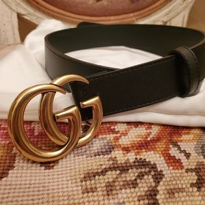 "💕💕New Gucci 1"" wide skinny brass belt sz 80 💕💕"